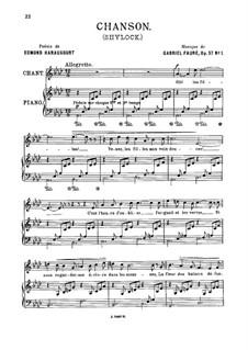 Shylock. Suite, Op.57: Movement I. Chanson, for medum voice by Gabriel Fauré