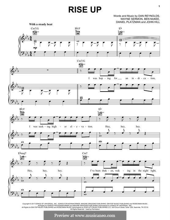 Rise Up (Imagine Dragons): Für Stimme und Klavier (oder Gitarre) by John Leubrie Hill, Benjamin McKee, Daniel Reynolds, Daniel Platzman, Wayne Sermon