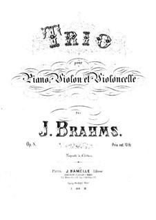 Klaviertrio Nr.1 in H-Dur, Op.8: Partitur by Johannes Brahms