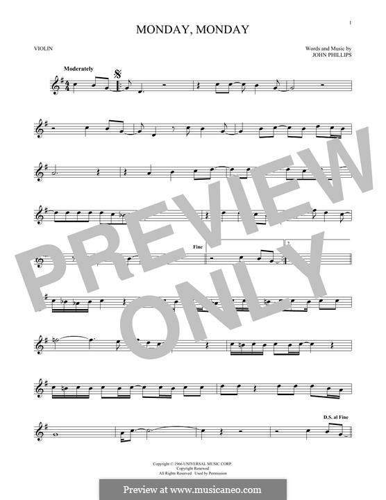 Monday Monday (The Mamas & The Papas): Für Violine by John Phillips