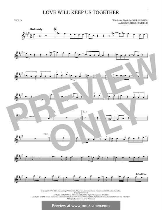 Love Will Keep Us Together (The Captain & Tennille): Für Violine by Howard Greenfield, Neil Sedaka