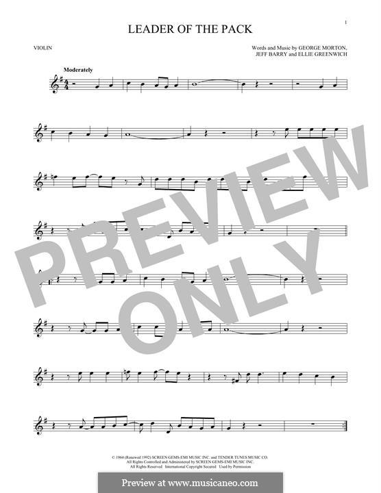 Leader of the Pack: Für Violine by Ellie Greenwich, George Morton, Jeff Barry