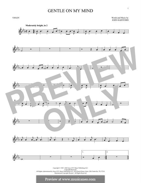 Gentle On My Mind: Für Violine by John Hartford