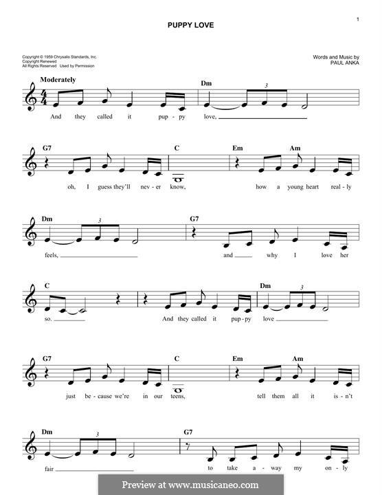Puppy Love: Melodische Linie by Paul Anka