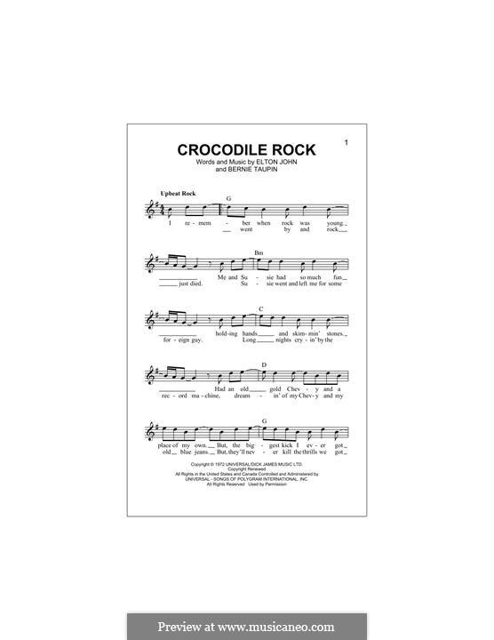 Crocodile Rock: Melodische Linie by Elton John