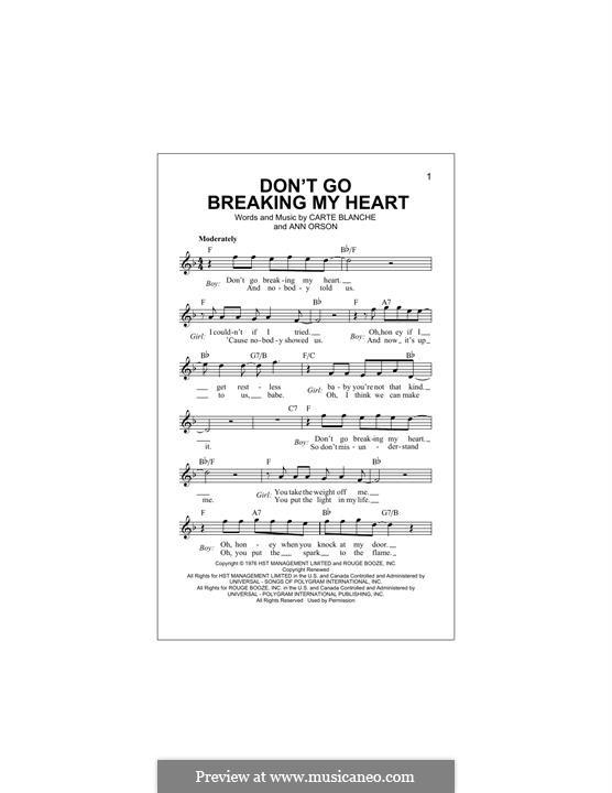 Don't Go Breaking My Heart (Elton John): Melodische Linie by Ann Orson, Carte Blanche