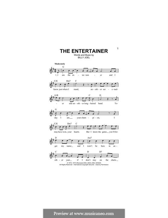 The Entertainer: Melodische Linie by Billy Joel
