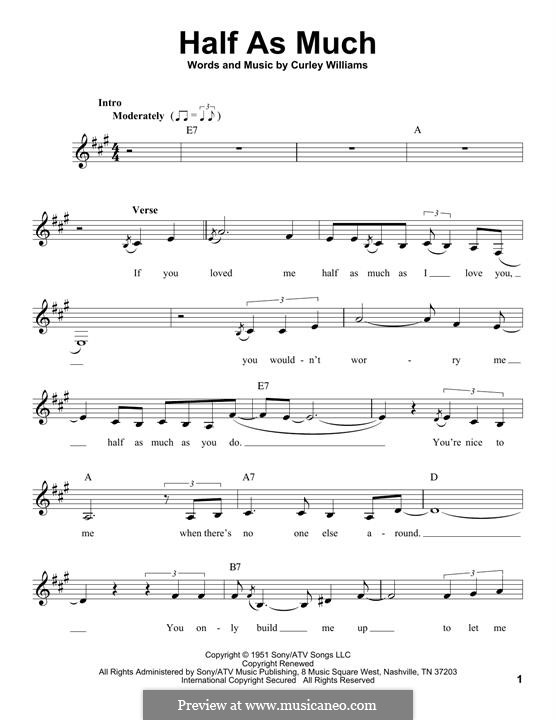 Half as Much (Patsy Cline): Melodische Linie by Curley Williams