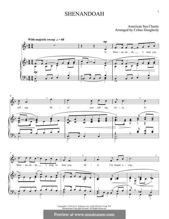 Shendandoah River: Für Stimme und Klavier by folklore