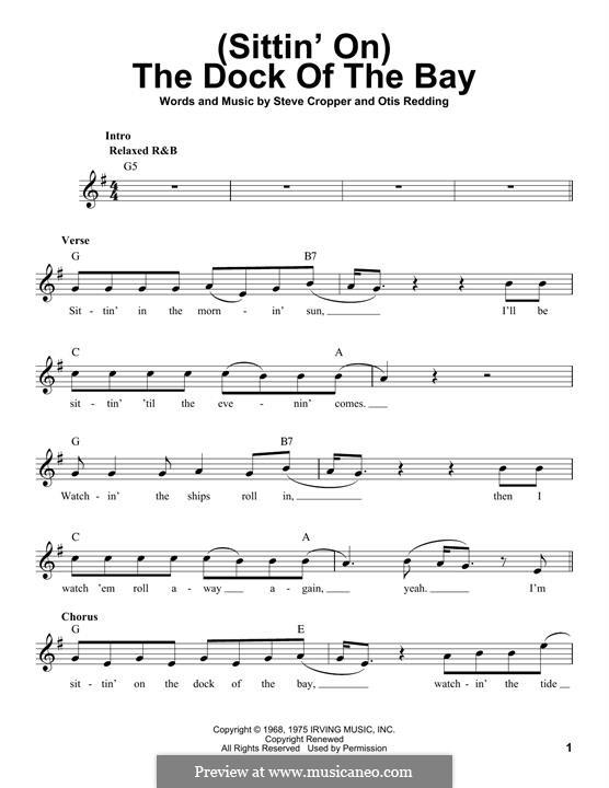 (Sittin' On) The Dock of the Bay: Melodische Linie by Otis Redding, Steve Cropper