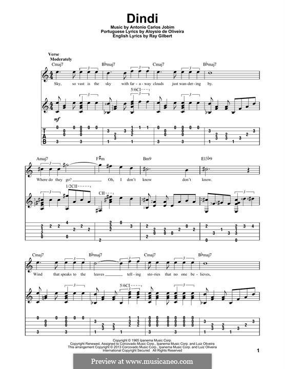 Dindi: Für Gitarre mit Tabulatur by Antonio Carlos Jobim