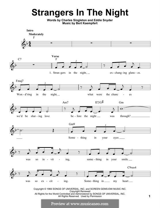 Strangers in the Night (Frank Sinatra): Melodische Linie by Bert Kaempfert