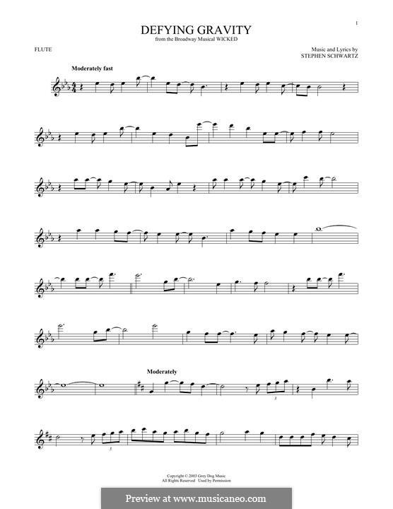 Defying Gravity (from the Broadway Musical Wicked): Für Flöte by Stephen Schwartz