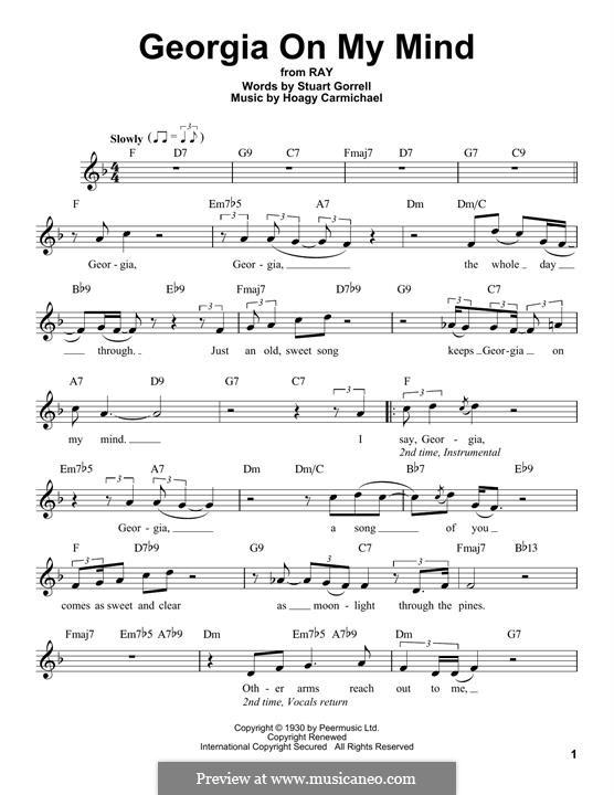 Georgia on My Mind: Melodische Linie by Hoagy Carmichael