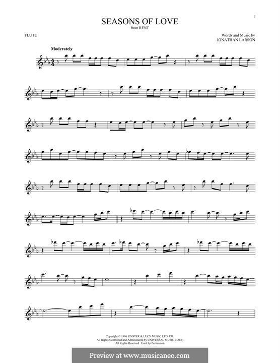 Seasons of Love (from Rent): Für Flöte by Jonathan Larson