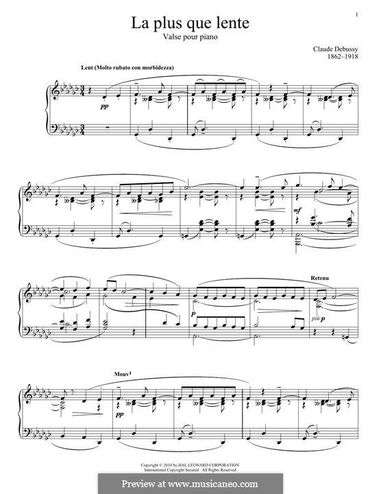 La plus que lente, L.121: Für Klavier by Claude Debussy