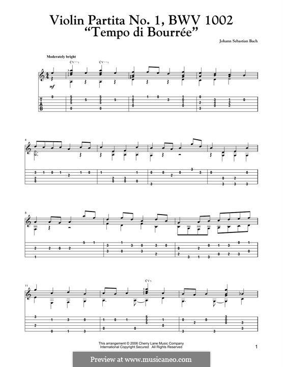 Partita für Violine Nr.1 in h-Moll, BWV 1002: Tempo di Bourree, for guitar by Johann Sebastian Bach