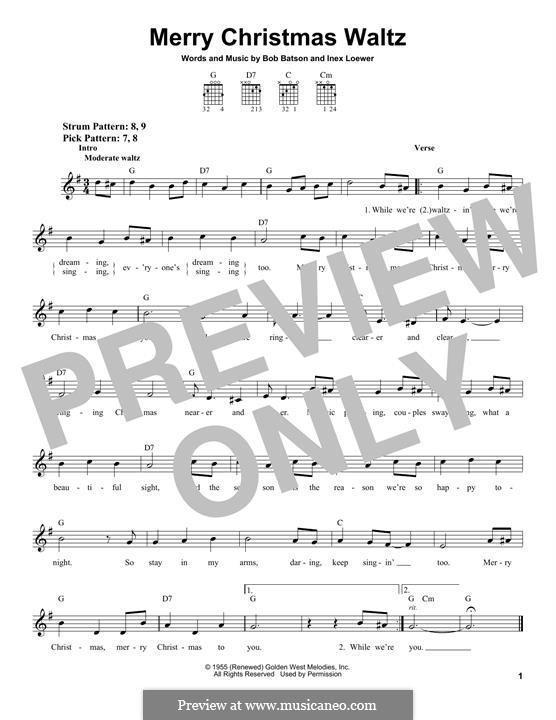 Merry Christmas Waltz (Bob Batson): Für Gitarre mit Tabulatur by Inex Loewer