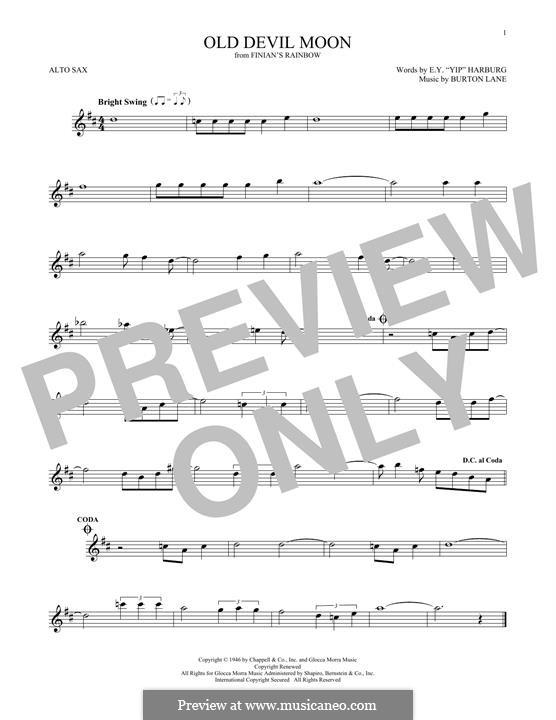 Old Devil Moon: Für Altsaxophon by Burton Lane