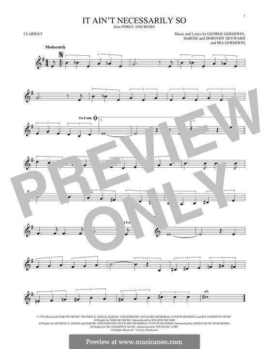 It ain't Necessarily So: Für Klarinette by George Gershwin