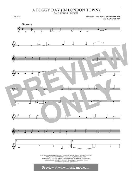 A Foggy Day (In London Town): Für Klarinette by George Gershwin