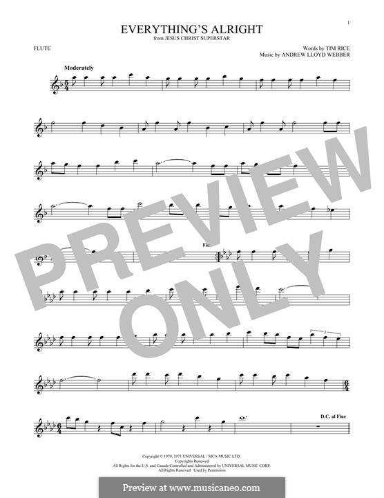 Everything's Alright: Für Flöte by Andrew Lloyd Webber