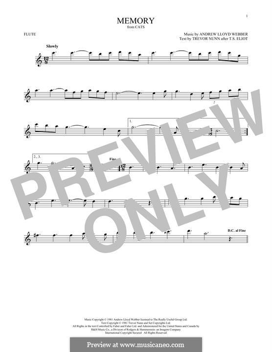 Memory (from Cats): Für Flöte by Andrew Lloyd Webber