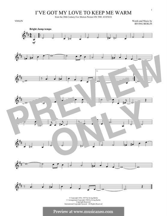 I've Got My Love to Keep Me Warm (Frank Sinatra): Für Violine by Irving Berlin