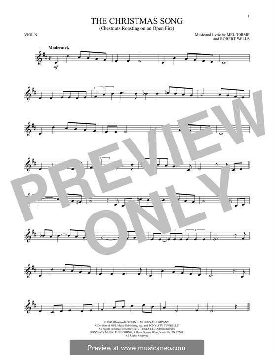 The Christmas Song (Chestnuts Roasting on an Open Fire): Für Violine by Mel Tormé, Robert Wells