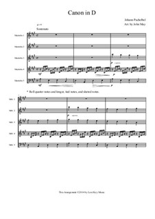 Kanon in D-Dur: For percussion ensemble by Johann Pachelbel
