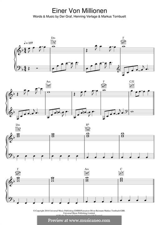 Einer von Millionen (Unheilig): Für Stimme und Klavier (oder Gitarre) by Der Graf, Henning Verlage, Markus Tombuelt