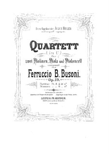 Streichquartett Nr.1 in c-Moll, BV 208 Op.19: Violinstimme I by Ferruccio Busoni