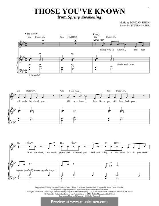 Those You've Known: Für Stimme und Klavier by Duncan Sheik