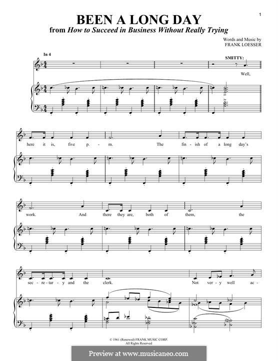 Been a Long Day: Für Stimme und Klavier by Frank Loesser