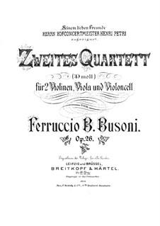 Streichquartett Nr.2 in d-Moll, BV 225 Op.26: Stimmen by Ferruccio Busoni