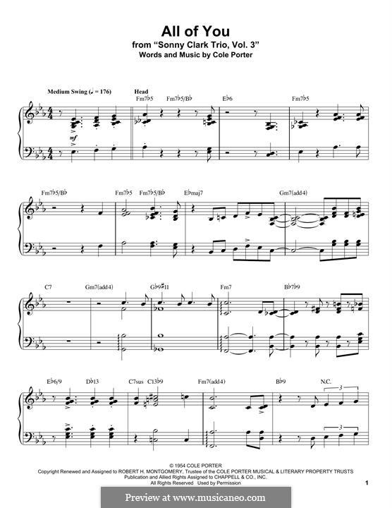 All of You: Für Klavier by Cole Porter