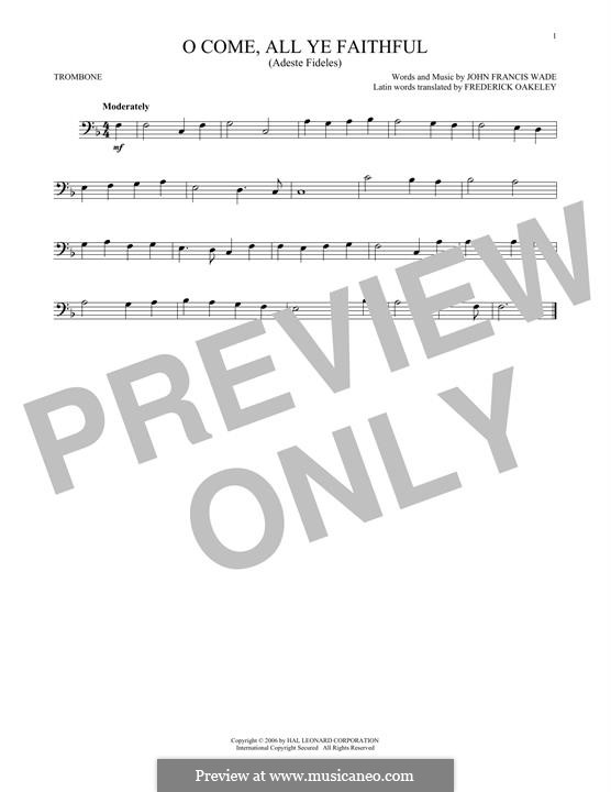O Come, All Ye Faithful (Printable Scores): For trombone by John Francis Wade