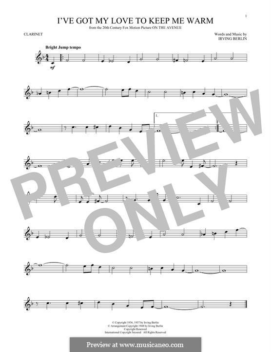 I've Got My Love to Keep Me Warm (Frank Sinatra): Für Klarinette by Irving Berlin