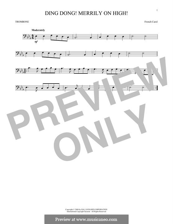 Ding Dong! Merrily on High (Printable Scores): For trombone by folklore