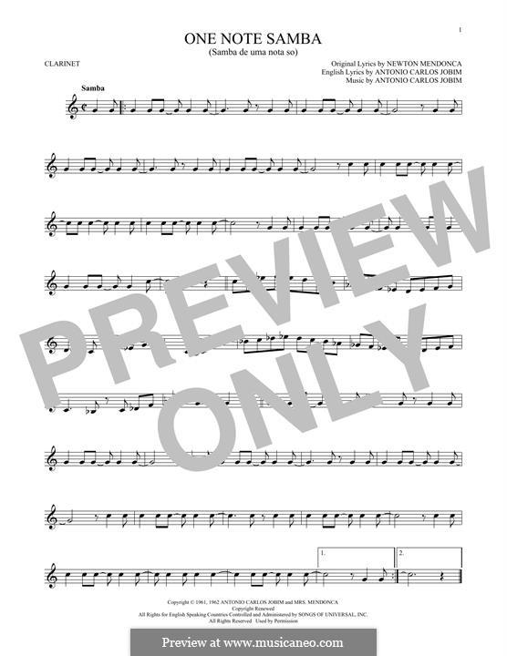 One Note Samba (Samba De Uma Nota): Für Klarinette by Antonio Carlos Jobim