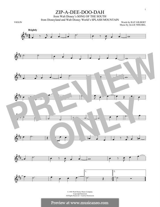 Zip-A-Dee-Doo-Dah: Für Violine by Allie Wrubel