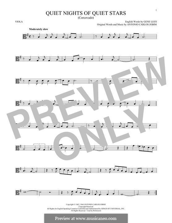 Quiet Nights of Quiet Stars (Corcovado): For viola by Antonio Carlos Jobim