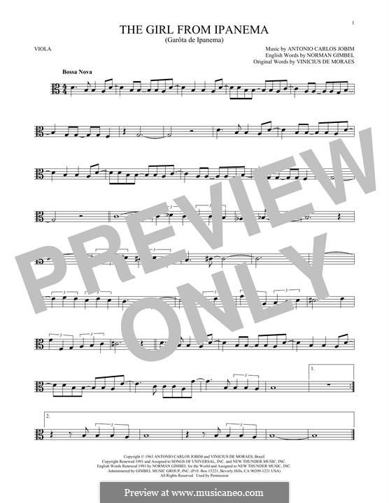 The Girl from Ipanema (Garota de Ipanema): For viola by Antonio Carlos Jobim