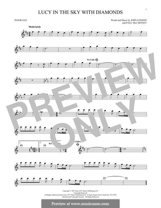 Lucy in the Sky with Diamonds (The Beatles): Für Tenorsaxophon by John Lennon, Paul McCartney