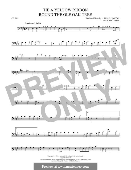 Tie a Yellow Ribbon Round the Ole Oak Tree (Tony Orlando): Für Cello by Irwin Levine, L. Russell Brown