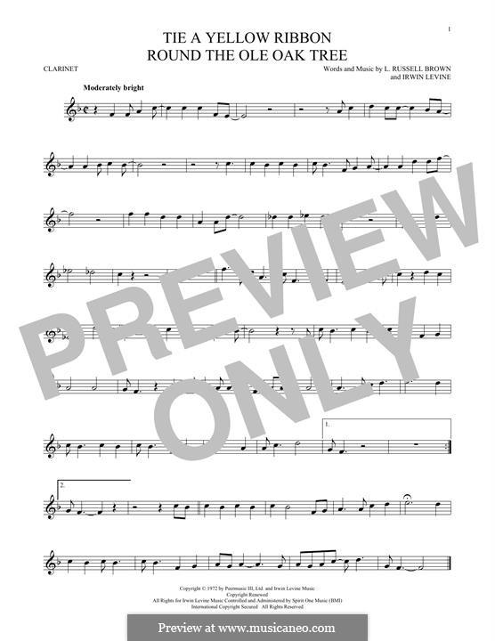 Tie a Yellow Ribbon Round the Ole Oak Tree (Tony Orlando): Für Klarinette by Irwin Levine, L. Russell Brown