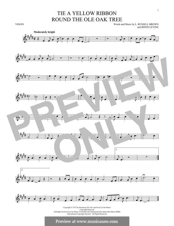 Tie a Yellow Ribbon Round the Ole Oak Tree (Tony Orlando): Für Violine by Irwin Levine, L. Russell Brown