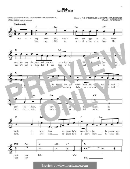 Bill: Melodische Linie by Jerome Kern