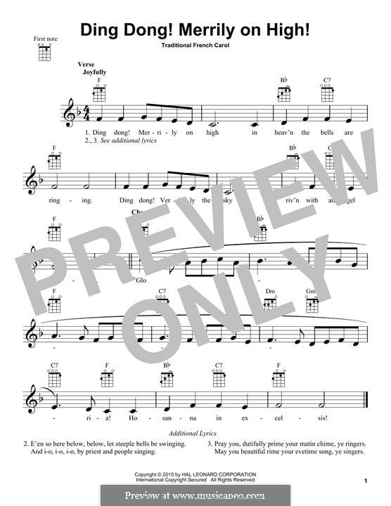 Ding Dong! Merrily on High (Printable Scores): Für Ukulele by folklore