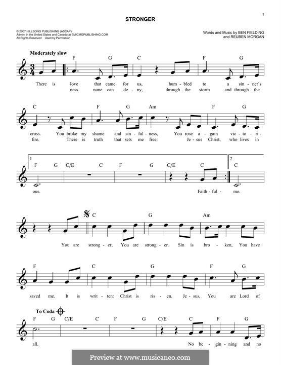 Stronger: Melodische Linie by Ben Fielding, Reuben Morgan